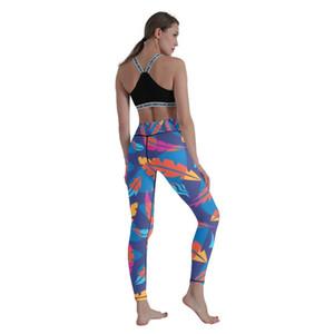 Plant series digital printing high waist hip lift 9 point bottom Yoga Pants women's large