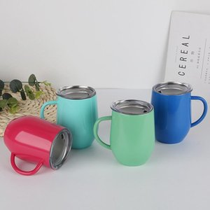 Egg Cups Handle 12oz Coffee Mugs Stainless Steel With Lids Double Layer Insulated Cup Tumblers SEA SHIPPING DHF2720