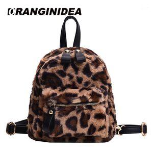 Mochila Estilo Leopard Imprimir Mochilas Pequenas Para Mulheres 2021 Mini Miúdos Moda Back Pack Travel Chain Plush Bags Inverno Bagpack1