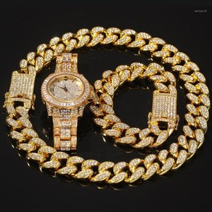 3pcs set Men Hip hop iced out bling Chain Necklace Bracelets watch 20mm width cuban Chains Necklaces Hiphop charm jewelry gifts1