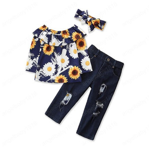 2021 Spring Autumn Fashion Kids Baby Girl Clothes Set Sunflower Long Sleeve Off Shoulder shirt Tops + Denim Pants + headband Outfit 1-6Y