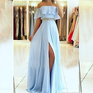 Modern Prom Dresses Off Shoulder High Side Split Sweep Train Chiffon Formal Party Evening Gowns Beads Cheap Special Occasion Dre