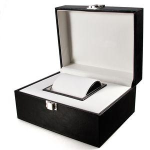 Leather Watch Box Display Case Organizer Glass Jewelry Storage for Men & Women Metal Buckle Black