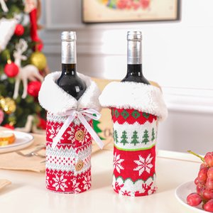 With Bow Elk Snowflake Knit Clothes Bottle Cover Xmas Wine Bag Christmas Ornament Decoration GWD1807