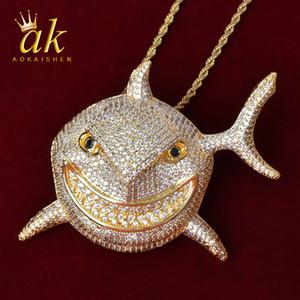 Erkekler için hayvan köpekbalığı kolye altın renk malzeme bakır tam kübik zirkonlar hip hop takı sokak ip zinciri ile