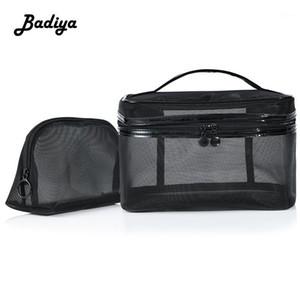 1pcs Femmes Neceser Clear Cosmetic Bag Travel Mode Petite Grande Maquillage Black Maquillage Bag Organisateur Sac Pochette Lavage de lavage1