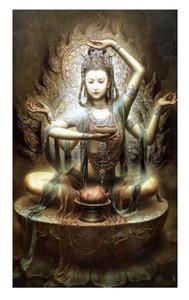 A68 Chinesische Dunhuang Kwan-yin Göttin Hochwertige Handarbeiten / HD-Druckporträt-Kunst-Ölgemälde auf Leinwand Multi-Größen / Rahmenoptionen DH065