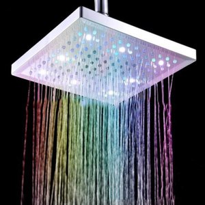 Shower with Modern Head Square Colorful Bathroom Lights Feature For Led Heads Waterfall 8-Inch Polished