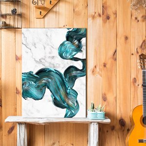 Abstract Marble Blue Watercolor Poster Wall Art Canvas Painting Posters Prints Modern Painting Wall Picture for Living Room Home Décor