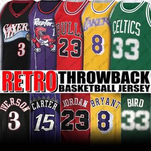 Retroceso Allen Shaquille Iverson Oneal Jerseys 23 Michael Jersey Bryant Jerseys Vince Larry Carter Bird Jerseys Retro Baloncesto Uniforme