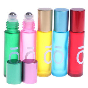 1PCS 10ml Portable Frosted Colorful Essential Oil Perfume Thick Glass Roller Bottles Travel Refillable Rollerball Bottle