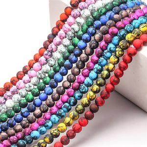 Glass Flow Beads Jewelry 8mm redondo Colorido Tinta Lavado de tinta Imitación Cerámica DIY Strands Bead Adornos Mujeres Pulseras Partes 4ZB M2