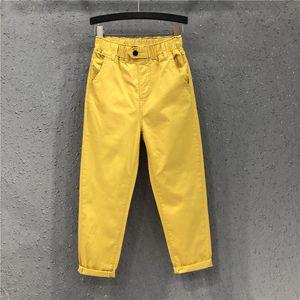 New Arrival Summer Women Harem Pants All-matched Casual Cotton Denim Pants Elastic Waist Plus Size Yellow White Jeans D321 A1112