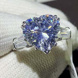 2020 Brand New Top Sell Luxury Jewelry Real 925 Sterling Silver Heart Shape White Topaz CZ Diamond Moissanite Women Wedding Band Ring Gift