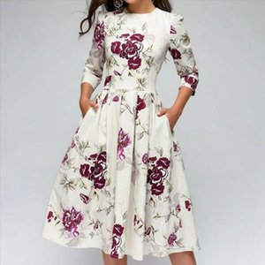 Autumn And Winter Ladies Retro Long sleeved Dress Floral Print Slim Dress Prom Party Evening Multicolor Elegant Print d