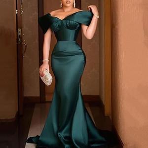 green off shoulder elegant evening party dress sexy celebrity mermaid maxi vestidos luxury 2020 gowns plus size women long dress