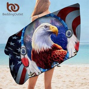 Beddingoutlet Kartal Banyosu 3D Baskılı Mikrofiber Plaj Havlusu Yetişkinler Için Dreamcatcher Dikdörtgen 75x150 cm Amerikan Bayrağı Toalla 201217