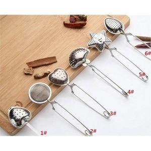 6styles Stainless Steel Tea Spoon Seasoning Infuser Star Shell Oval Round Heart Shape Strainer Teaware DHB653