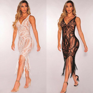 Hot Sexy Dress Women Lace Tassels Cover Up Beach Dress 2020 New Summer Lady robe femme ropa mujer Elegant