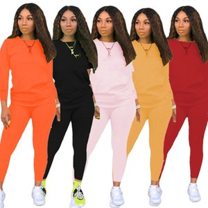 Women fall winter Sweatsuit solid color 2 piece sets long sleeve hoodies+leggings sport Outfits letter print casual jogger suit