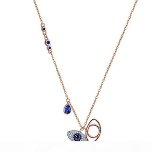 الأزرق الشر العين قلادة القلائد النساء روز الذهب شيطان العين سحر القلائد الأزياء قلادة مجوهرات هدية