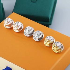 유럽 아메리카 스타일의 보석 세트 레이디 여성 새겨진 v 이니셜 l to v double color gold coin stud earrings m69664