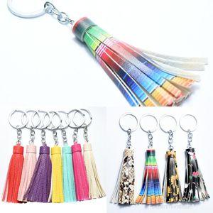 Suede Vinyl Keyring Keychain Bag Pendant Accessories Women Tassel Key Chain Fashion Jewelry Charm Party Favor OWB2552