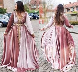 Vintage Moroccan Caftans Pink Evening Dresses V neck Long Sleeves Party Dress with Beading Velvet A Line Robe De Soiree Arabic Formal AL8401