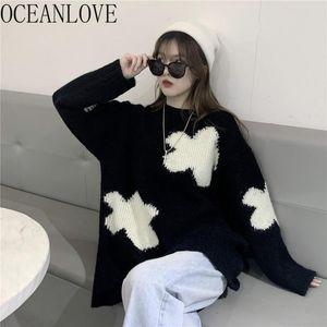 Oceanlove Japonya Tarzı Çekin Femme Siyah Beyaz Baskılı Gevşek Vintage Kadın Kazak Sonbahar Kış 2020 Mujer Suereres Tops 19345