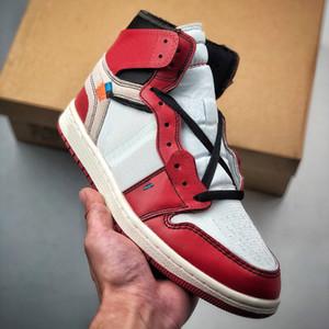 2021 Nouveau hauteur 1 design articulaire 1S hommes Basketball Chaussures de basket-ball rouge Blanc Blanc Top Qualité Cuir Confort Entraîneurs Sports Sports Sports en gros