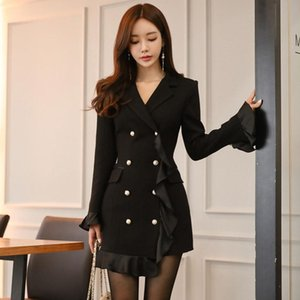 CWBshowGG Black jacket 2020 new Korean version of the double-breasted Slim ruffled patchwork fashion bodycon jacket female