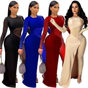 Felyn 2021 ins Internet celebridade famosas jumpsuits Sparkly Diamond Malha Patchwork Sexy Night Club Jumpsuits
