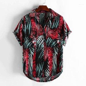 Флористическая рубашка Мужская повседневная напечатанная кнопка вниз с короткими рукавами рубашка гавайская топ блузка Playeras de Hombre мужская одежда ROPA11