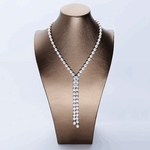 NYMPH Long Pearl Necklace 7-8MM Natural Freshwater Fine Pearl Jewelry For Women Party Gift X401 Z1126