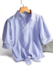 Chic Style Women Striped Shirts Fashion Crop Tops White Blouse All match Blue Shirts Female Blusas 2020 Summer Plus Size