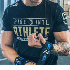 Mens Summer Gyms Fitness Brand T -Shirt Crossfit Bodybuilding Slim Shirts Printed O -Neck Short Sleeves Cotton Tee Tops Clothing