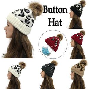 Зимняя вязальная шапочка для женщин мода повседневная леопардовый шляп шляпа черенок теплые женские мягкие сгущает шапки капота
