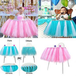 Tutu Tulle Table Skirts Baby Shower Decoration for High Chair Home Textiles Party Supplies Pink Blue Event Party Supplies
