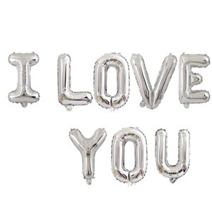18in I LOVE YOU Letter Foil Balloon Wedding Valentines Anniversary Birthday Party Decoration Champagne Cup Photo Booth Props CCE4282
