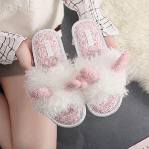 2021 Fur Women Furry Plush Cartoon Elk Slippers Animal Winter Ladies Cute Bow Indoor Bedroom Soft Warm Slides Home Shoes J1205