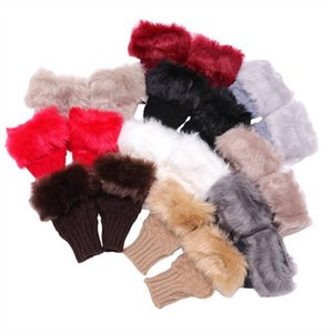 Luvas faux coelho peles luvas de inverno tricotado braço comprimento aquecido luvas semi-dedo luvas de inoperante luvas semi goma