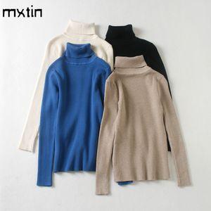 Mxtin moda outono inverno sólido malha pulôver camisola mulheres 2020 vintage turtleneck manga longa suéteres macios