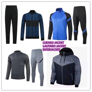 2021 Yeni Lukaku Lautaro Futbol Ceket Eşofman Kitleri 20/21 Rüzgarlık Barella Vidal Alexis Skriniar Brozovic Hoodie Ceket Eğitim Seti