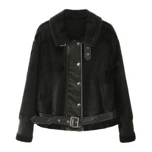 Femmes Plus Size Motorcycle Veste Patchwork simple boutonnage Manteaux Lapel Neck Famale hiver veste à manches longues