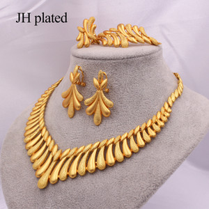 Dubai 24K Gold color Jewelry sets for Women Luxury Necklace earrings Bracelet ring India African wedding Wife gifts Ethiopia set Z1201