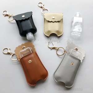 60ML Hand Sanitizer Bottle with PU Leather Holder Cover Sleeve Bag 2PCS Set Protable Travel Bottles Keychains Key Chain Pendent OWF1870