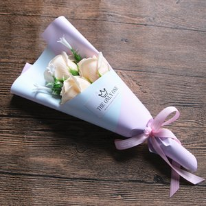 3 Head Soap Rose Flower Bouquet Valentine Day Gift Rose Carnation Mothers Teacher Day Flower Present CCA3205