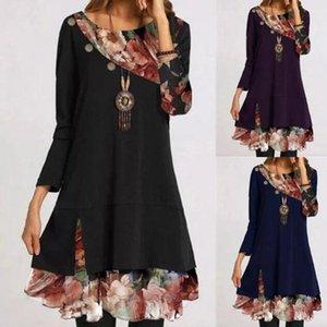 2020 Autumn Elegant Fashion Patchwork Floral Dress Women O Neck Long SLeeve A-Line Party Dresses Lady Button Midi Dress Vestidos