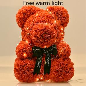 Dropshiping 40 cm Gül Ayı ile LED Hediye Kutusu Teddy Bear Gül Sabun Köpük Çiçek Yapay Yılbaşı Hediyeleri Kadınlar için Sevgililer