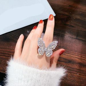 Lado brillante Nueva marca Marca Joyería Zirconia Mariposa Anillos de compromiso de la boda para las mujeres Regalo Ajustable Abrir anillos de boda